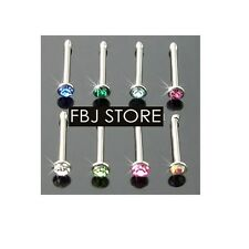 8 Pc 20g 2mm C.Z. Nose Studs Flat Top 316L Surgical Steel Body Jewelry