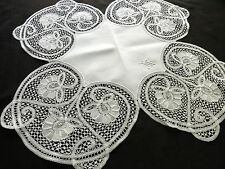 "UNIQUE SHAPE Antique Bobbin Lace & Linen Tablecloth Topper Doily 27"" FLOWERS"
