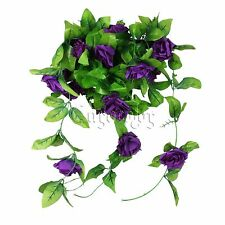 Purple Artificial Silk Rose Flower Ivy Vine Hanging Plastic Garland Wedding Home