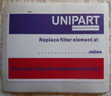 Land Rover Series 3 Stage 1 V8 Unipart Service due at.. Bulkhead Sticker Decal