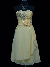 Cherlone Chiffon Ivory Strapless Prom Ball Evening Bridesmaid Wedding Dress 14