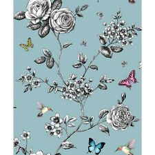 GRANDECO IDECO BUTTERFLY & FLOWERS ROSE GARDEN TEAL QUALITY WALLPAPER A14602