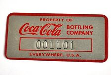 Vintage Coca-Cola Coke USA Alu Plakette Metal Tag - Property Of Coca-Cola