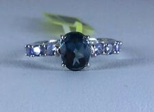Size 9 London Blue Topaz & Tanzanite Ring in Sterling Silver TGW 1.76