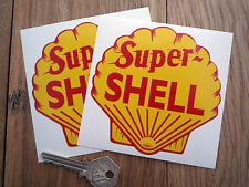 "Super Shell Classic Petrol Pump STICKERS 4"" Pair Car Classic Gasoline Bike Race"
