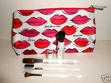 NEW LOT of 5 Clinique Makeup Brushes + Bag (eyeshadow, blush brush) cosmetic