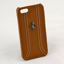 Ferrari iPhone 5 / 5S Camel Brown Leather & Stitching Case CG Mobile New