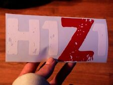 "8"" x 3 1/2"" Red & White H1Z1 Vinyl Decal Sticker Case Mod Computer PC Car Truck"