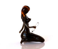 Girl Sexy, Undressing Nude Mirror Miniature Naked Virge Blown Glass Figurine