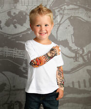 Rockabilly Tattoo Sleeve Shirt White Skulls and Rose Tattoo Sleeve 4T Toddler