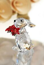 SWAROVSKI CRYSTAL RABBIT WITH POINSETTIA 1133620 MINT BOXED RETIRED RARE