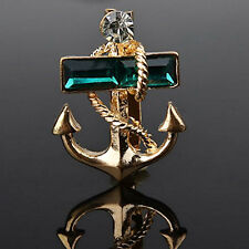 Vinatge Green Gold Plated Boat Anchor Rhinestone Brooch Pin Gift Unisex