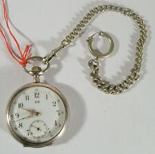 Alte Taschenuhr Lotus Silber 800 mit Kette 1908 (ZU4852E)
