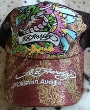 Ed Hardy signature casquette de baseball-fierce dragon graphique copper & gold glitter