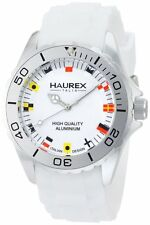 Haurex Italy Men's 1K374UWF Ink White Rubber Band Flag-Like Indices Aluminum Wat