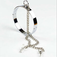 Flat Collars with Clamp Locking Slave Lockable Neck Ring Roleplay Female Costume