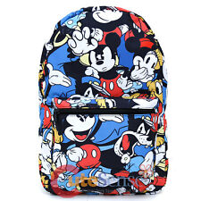 "Disney Mickey Mouse Friends School Backpack All Over Prints 17"" Bag Group"