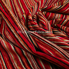 Red Multi Colour Pencil Striped Pattern Soft Textured Chenille Upholstery Fabric