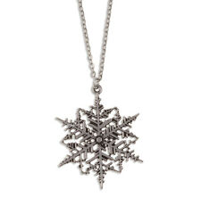 St Justin Pewter Snowflake Christmas Winter Pendant Necklace UK Made PN874