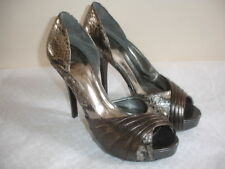 NEW GUESS  LEATHER Size 8 BRONZE CROCODILE PRINT SHOES SANDALS SLIP ONS HEELS