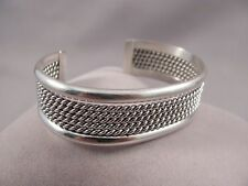 Navajo Sterling Silver Rope Cuff Bracelet by Elaine Tahe
