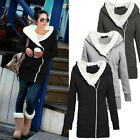 New Womens Long Thicken Hoodie Jacket Coat Tops Hooded Outware Pullover UK 8-22