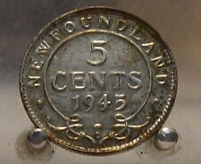 1945 C Canada, Newfoundland Silver 5 Cents, Old Silver World Coin