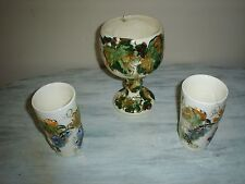 Calpotter Hand Painted Set Of (3) Glasses & Compote1940's Laguna Beach, Ca. EUC