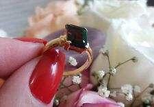10K Yellow GOLD Natural Red GARNET emerald cut Ring
