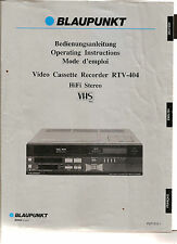Bedienungsanleitung Notice d ´emploi Handbook of Instruction Blaupunkt RTV-404
