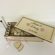 PERSONALISED ENGRAVED BIRCH PLYWOOD HEARTS STORAGE BOX FOR WEDDING DROP BOX