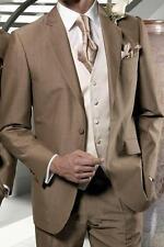 Mens Brown 3 Piece Herringbone Tweed Suit Vintage Retro Slim Fit Smart Formals