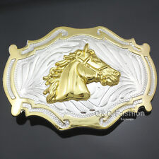 Western Country Gold & Silver Cowboy Bridle Horse Head Belt Buckle Line Dance W2