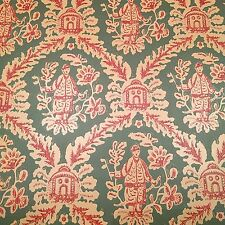 SAMPLE of Vintage Wallpaper Chinoiserie Asian Green Red Tan