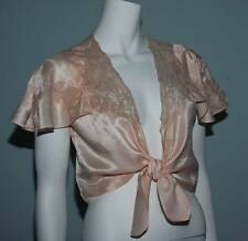VINTAGE 1940s LADIES PEACH SATIN LACE WRAP TOP WITH TIES KAYMAN CANADA (3968)