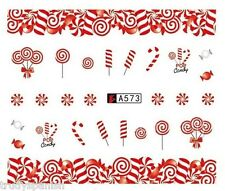 Nail Art Water Decals Transfers Christmas Candy Cane Lollipops Gel Polish (a573)