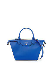$1035 Longchamp Le Pliage Heritage Saffiano Leather Satchel Handbag France Blue