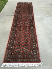 21/2x10 Runner hand knotted oriental rug Rose 100% Wool Pile Bokhara Design.