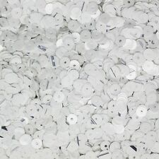5mm Flat SEQUIN PAILLETTES ~ White with Black Fleck Opaque Glossy  ~ Made in USA