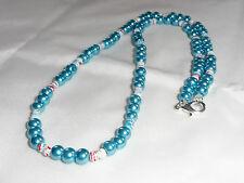 Sale Hand Made Ladies Jewellery Blue Faux Pearl Bead Necklace - 22 inches