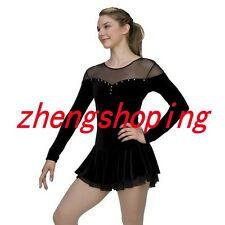 Black Ice Skating Dress Women's Girls Competition Figure Skating Dress Sleeved