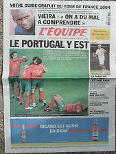 L'Equipe du 1er/7/2004 - Euro : Portugal - Viera - Grosjean - Caristan -