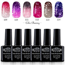 Glitter Temperature Color Changing Soak Off Nail UV Gel Polish Lacquer Kits Set
