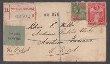 **British Guiana Cover, SC# 186 + 207 Registered Airmail, Nice Back Stamps