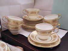 SIX ? VINTAGE AYNSLEY TRIOS, CUP, SAUCER AND SIDE PLATES  IN ENGAGEMENT PATTERN