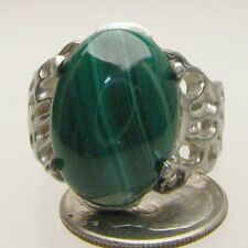 Handmade Sterling Silver Malachite Lava Ring