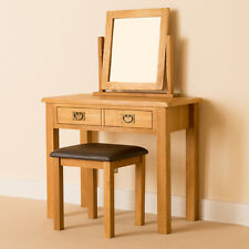 Lanner Oak Dressing Table Set / Hand Crafted Rustic Oak Table + Mirror & Stool