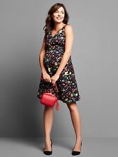 Gap Maternity Double V-neck sleeveless confetti dress, True Black SZ 4  #734273