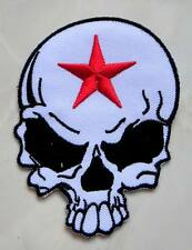 Red Star White Skull Punk Rock Biker Embroidered Iron on Patch Free Shipping
