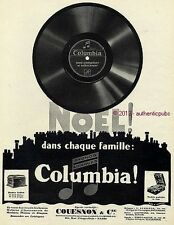 PUBLICITE COLUMBIA PHONO DISQUE COUESNON COFFRET PORTABLE NOEL DE 1927 FRENCH AD